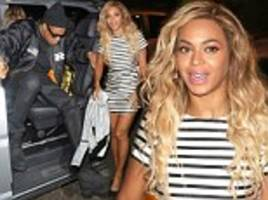Beyonce and Jay Z head back The Arts Club for the second night in a row as the singer stuns in striped mini dress