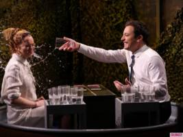 Watch Lindsay Lohan Get Soaking Wet on 'The Tonight Show'